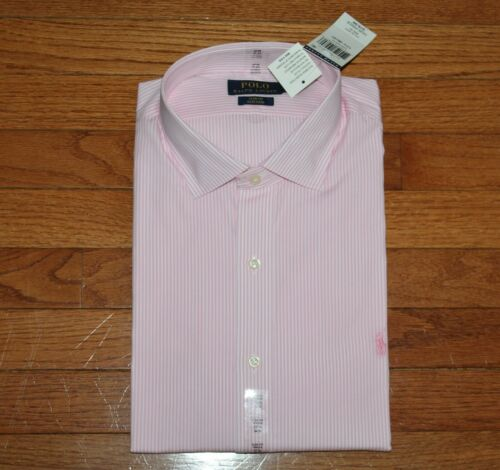 NWT Polo Ralph Lauren Mens Slim Fit Spread Collar Dress Shirt PINK PONY Logo *E4