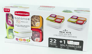 RubberMaid-Balance-2-MEAL-KITS-Food-Lunch-Boxes-Containers-Kitchen-Storage
