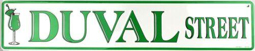 "DUVAL ST METAL STREET SIGN 24/"" X 5/"" EMBOSSED ST ROAD KEY WEST BEACH MAN CAVE"
