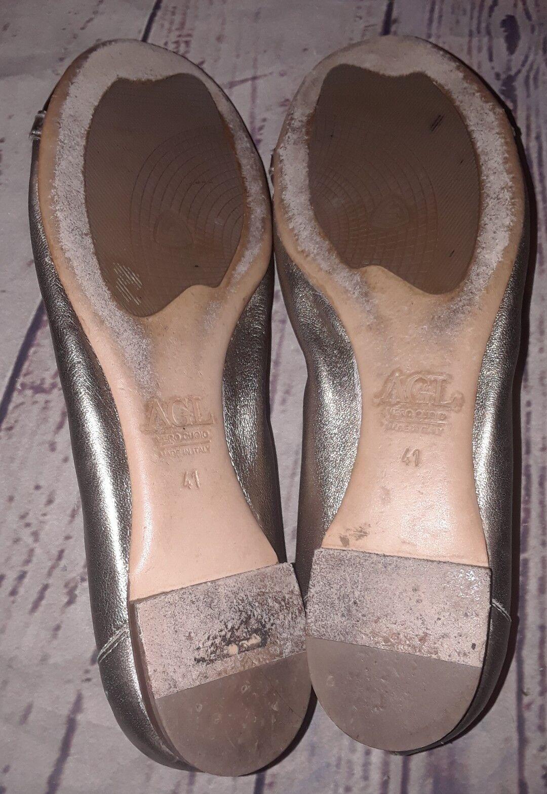 Attilio Giusti Leombruni AGL schwarz Gold Gold Gold leather Cap Toe ballerina flats 41 ce413b