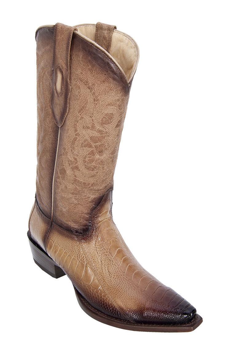LOS ALTOS ORYX GENUINE SNIP TOE OSTRICH LEG WESTERN COWBOY BOOT (EE)