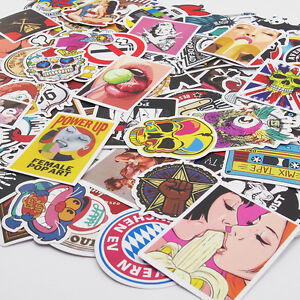 Pack of 100 Skateboard Stickers Vintage Vinyl Laptop Luggage Decals Dope Sticker