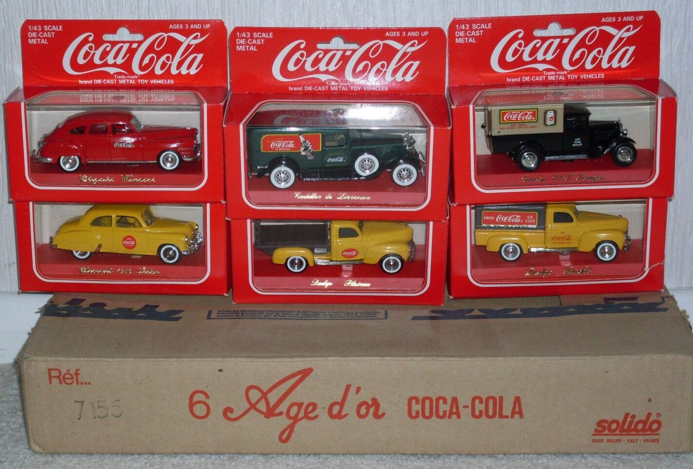 COCA COLA SOLIDO age d'or RARE BOXED  SETOF 6 GMC DIE CAST COLLECTABLE NEW
