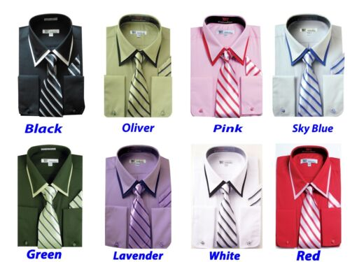 Men/'s Elegant Shirt Solid Color Trim Collar French Cuff Tie With Hanky SG14