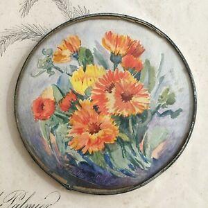 Aquarelle-Bouquet-de-Fleurs-Signe-Debut-XXe-Antique-Watercolour