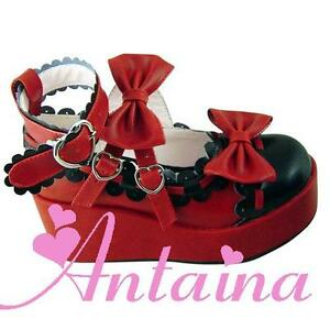 Rot Lolita Shoes Damen Schuhe Halbschuhe Cosplay Gothic Keilabsatz