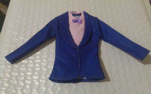 NEW BLUE BLAZER WITH ATTACHED SHIRT & BOW TIE FOR KEN DOLL