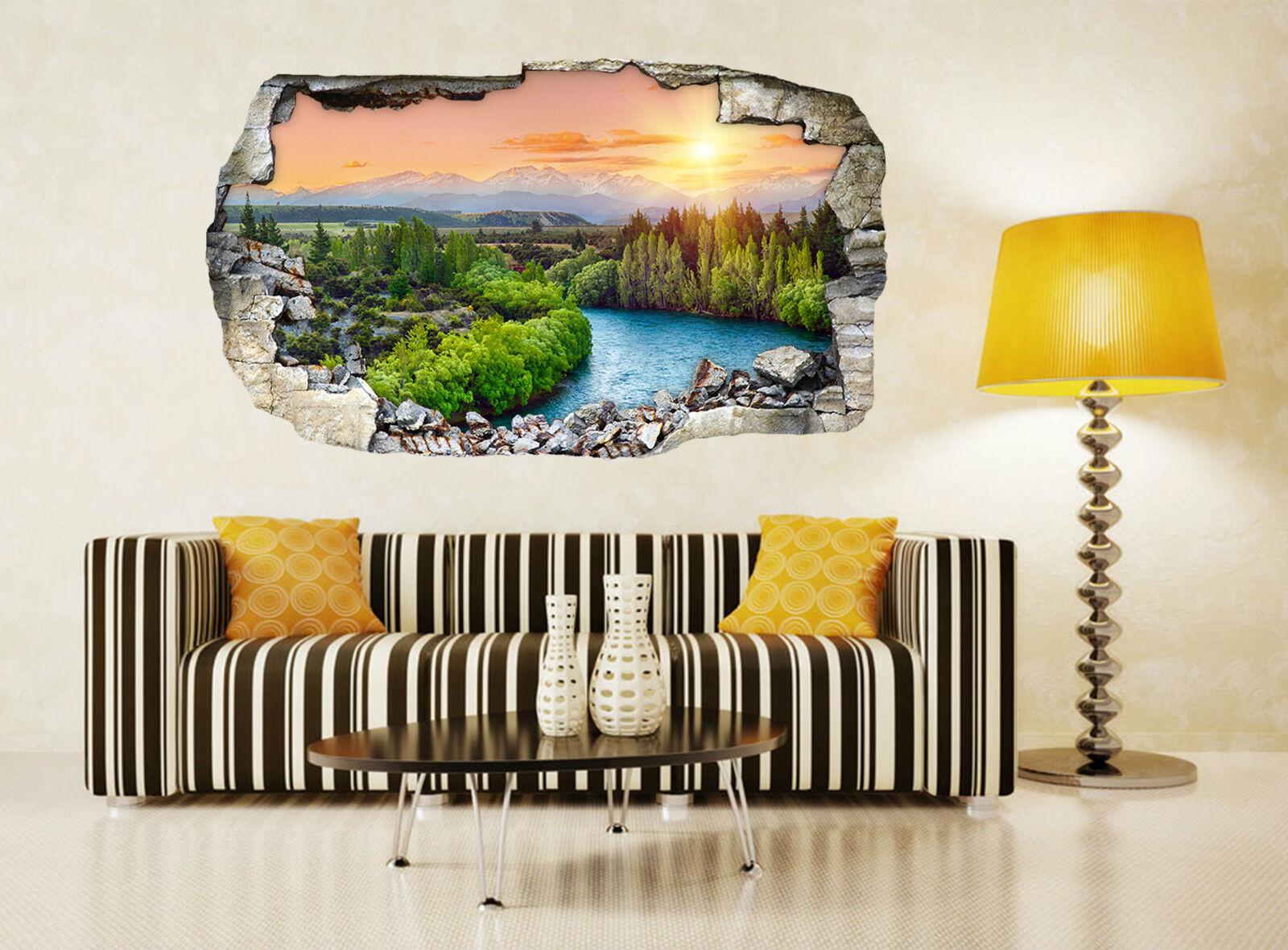 3D Waldfluß 523 Mauer Murals Aufklebe Decal Durchbruch AJ WALLPAPER DE Lemon