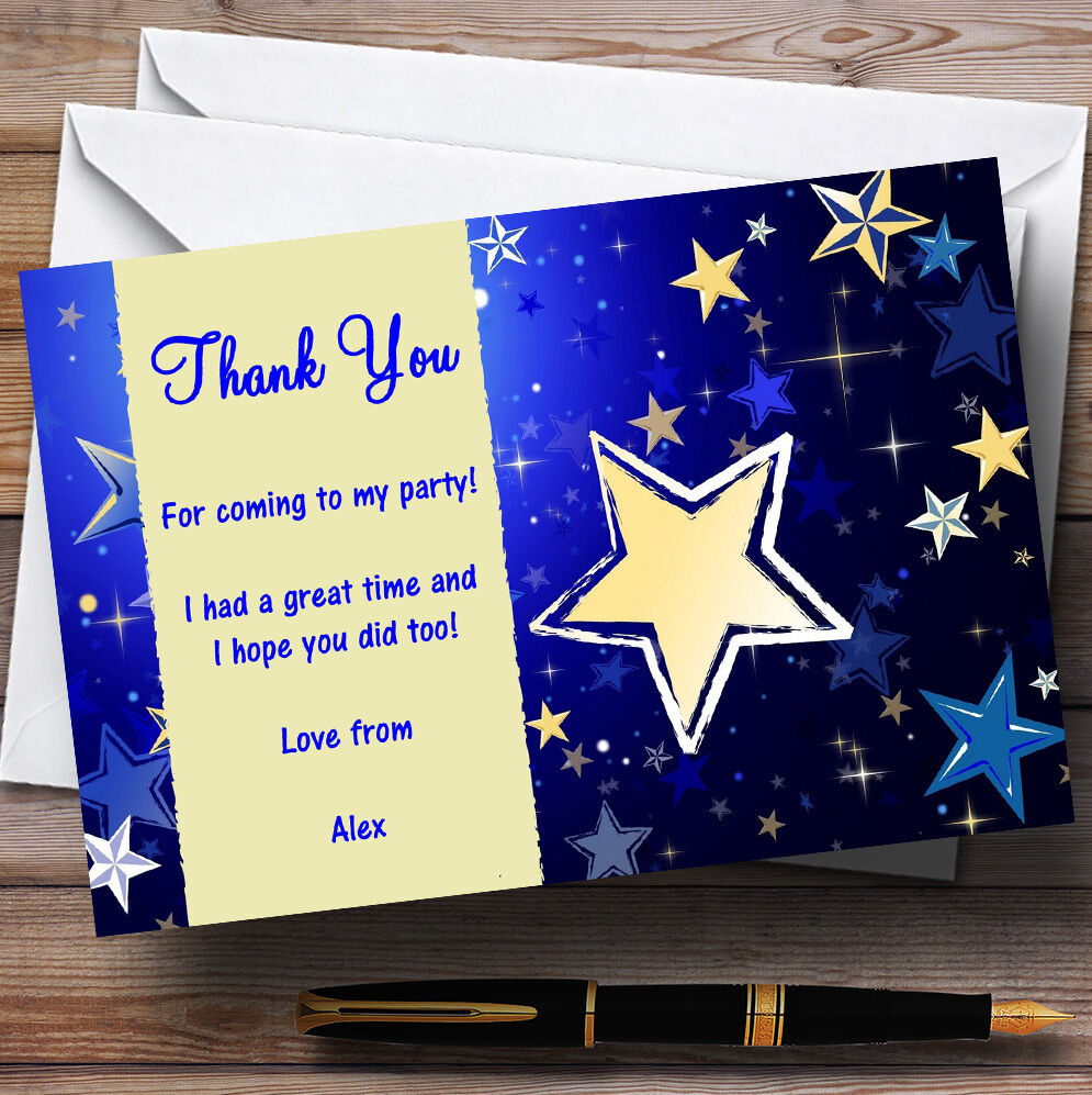 Blau & Cream Personalised Party Thank You Cards
