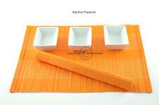 6 Handmade Bamboo Wood Placemats Table Mats, Orange, P049