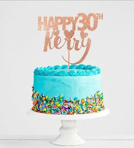 Excellent 30Th Birthday Cake Topper Banner Glitter Including Rose Gold Any Personalised Birthday Cards Cominlily Jamesorg