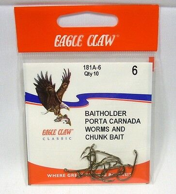 THREE Packs of 10 = 30 TOTAL HOOKS #181A-6 Eagle Claw Baitholder Hooks Size 6
