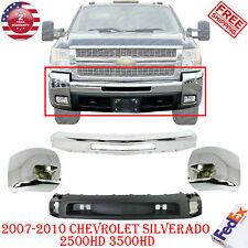Front Bumper Chrome Steel Caps For 2007 2010 Chevrolet Silverado 2500hd 3500