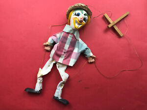 Vintage-Whimsical-Hand-Painted-Clown-Marionette-Mid-Century-Kitsch-Puppet