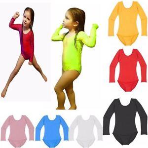New-Girls-Uniform-Leotard-Dance-Gymnastics-Ballet-Long-Sleeve-Leotards-Kids