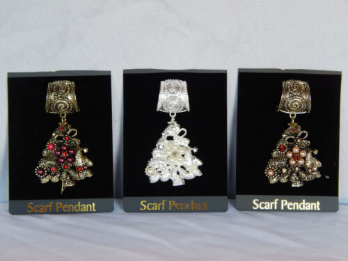 GOLD OR SILVER SCARF RING W// CHRISTMAS TREE PENDANT-RHINESTONES FAUX PEARLS,
