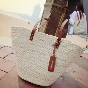 Strohtasche-Strandtasche-Basttasche-Damentasche-Korbtasche-Schulter