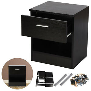 1 Drawer Wooden Bedside Table Cabinet Bedroom Furniture Storage Nightstand