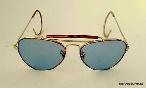 2c75fa3f39 NOS Aviator Shooting Glasses Gold Metal Tortoise Rim Vintage Aviator ...