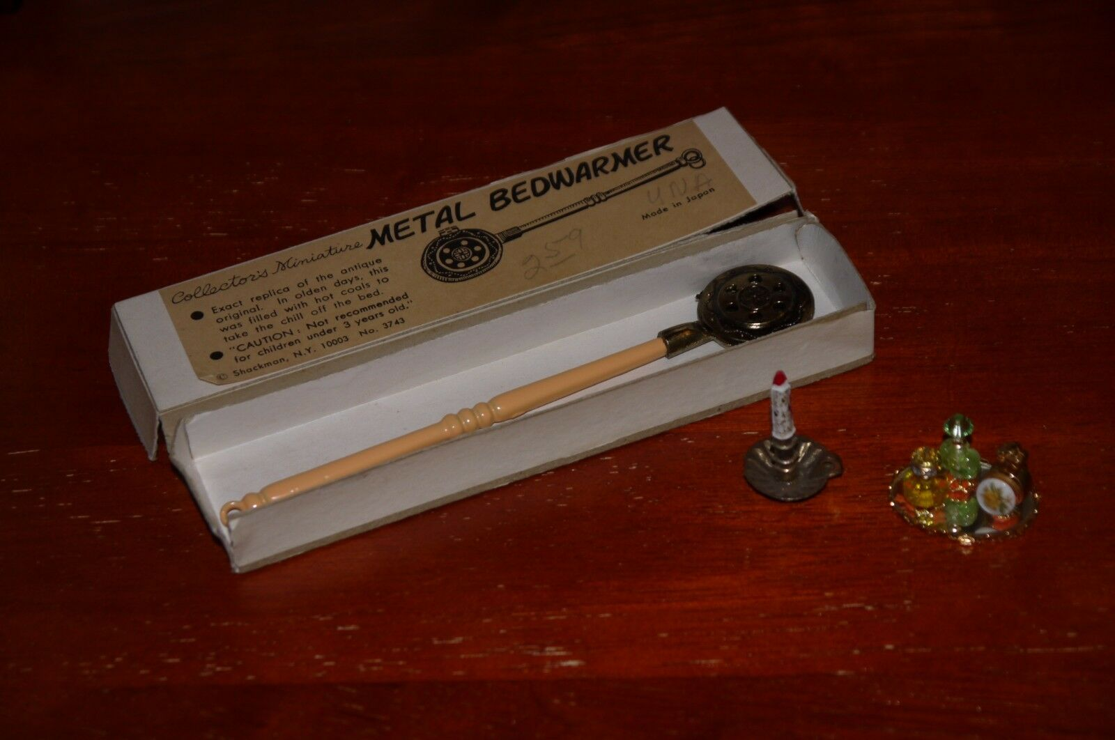 Dollhouse doll house miniature accessories LOT vanity set, bed warmer, candle