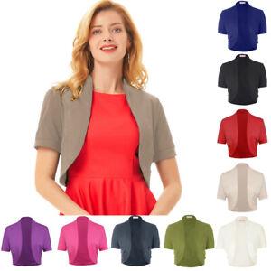Womens-Ladies-Short-Sleeve-Open-Front-Cardigan-Cropped-Short-Shrug-Bolero-Coat