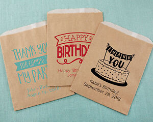 Image Is Loading 48 PERSONALIZED Kraft Birthday Party Goodie Bags Adult