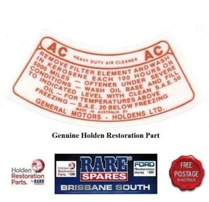 HOLDEN-FE-ALL-MODELS-amp-EARLY-FC-AIR-FILTER-DECAL-034-AC-034-brown-RARE-SPARES
