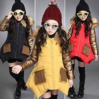 Kinder Mädchen Kapuzen Winterjacke Warm Lang Hoodie Parka Jacke Mantel Outerwear