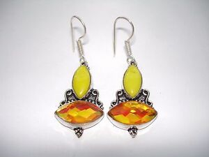 Image Is Loading Ab Yellow Agate Golden Rainbow Mystic Topaz Earrings