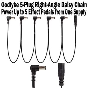 Godlyke-5-Plug-RIGHT-ANGLE-Daisy-Chain-Cable-Up-to-5-Pedals-on-One-Supply-NEW