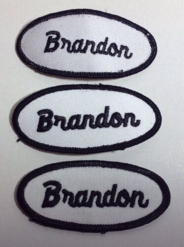 BRANDON EMBROIDERED SEW ON NAME PATCH LOT OF 3 ~ NAME TAG