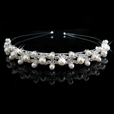 Crystal Wedding Princess Tiara Pearl Headband Rhinestone Crowns For Bride Hair