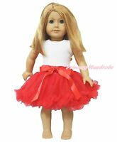 Plain White Top Hot Red Tutu Skirt 18 American Doll Baby Girl Cute Outfit Set