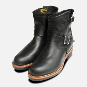Chippewa Mens Black American Hide Logger Boots With Vibram
