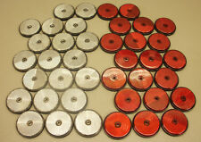 40 x Red & White Round 60mm Reflectors for Driveway Gate Fence Posts & Trailers