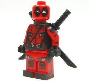NEW Deadpool Custom Lego Minifigure with 5 weapons 2 head