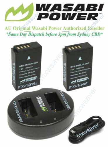 Wasabi Power Battery 2Pack and Dual USB Charger for Nikon ENEL20, ENEL20a