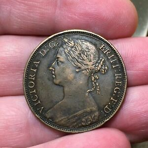 1892-Great-Britain-Penny-Victoria-KM-755-Extra-Nice-Antique-Bronze-Coin