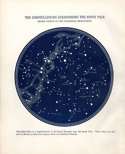 Details about Poster – Vintage South Pole Star Map of Constellations  (Picture Astrology Stars)