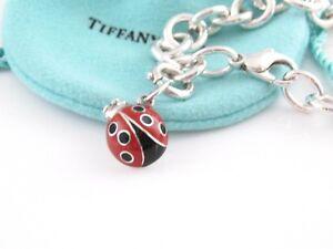 980eae796021d Details about Tiffany & Co Silver Red Black Enamel Ladybug Charm Bracelet  Bangle