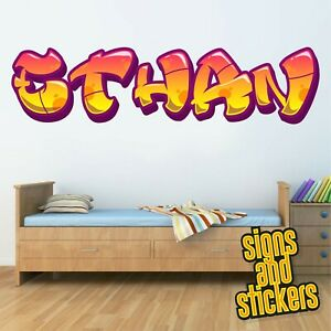Childrens Name Wall Stickers Personalised Graffiti for Boys Girls Bedroom Art.