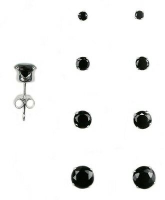 925 Silver Round Black CZ Stud Set of 4 Earrings (2mm, 3mm, 4mm, and 5mm)