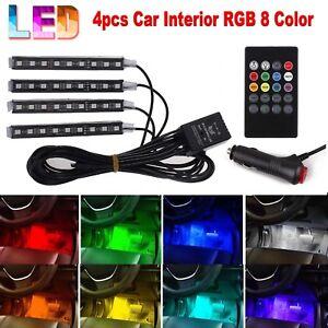 4x 9 LED RGB Car Interior Atmosphere Footwell Strip Light Decor Lamp USB Charger