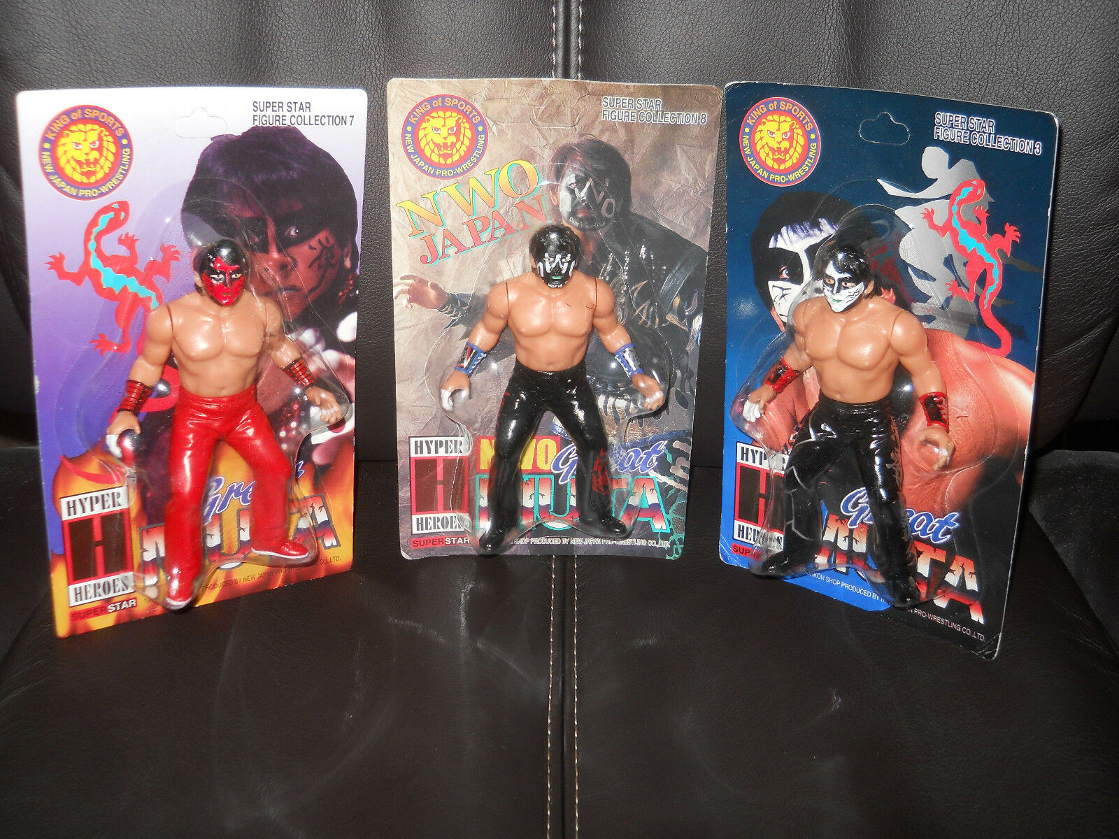 Hyper Heroes WWF WWE AWA WCW Nao NWO New Japan  Great Muta  figure MOC 3 TOTAL...