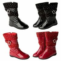 GIRLS PATENT QUILTED DIAMANTE BUCKLE KNEE HIGH ZIP WINTER BOOTS UK SIZE 5-12