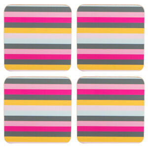 Navigate-Gardenia-Set-of-4-Coasters-Stripe-Pretty-Modern-Stylish-Drinks-Mats