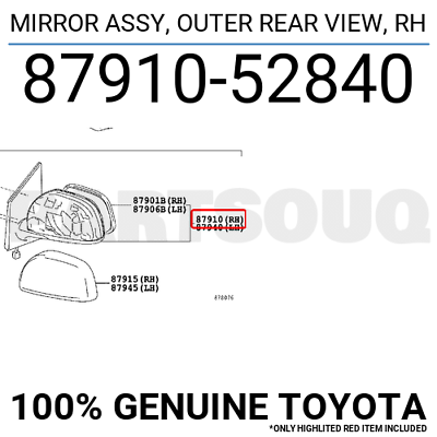 8791060460 Genuine Toyota MIRROR ASSY OUTER REAR VIEW RH 87910-60460