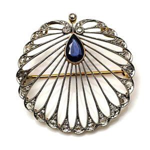 925 Sterling Silver rose cut diamond Brooch.
