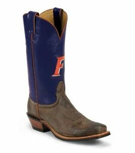 Nocona-MDUF21-Mens-University-Of-Florida-Blue-Tan-Cowhide-Branded-College-Boots