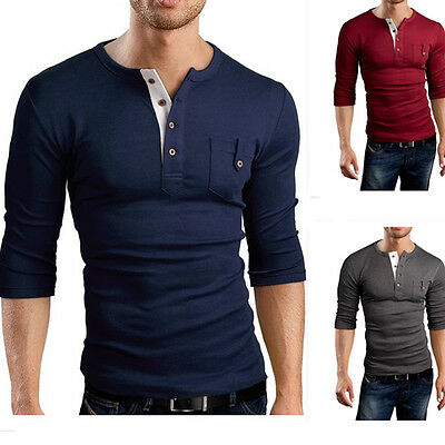 Luxury Mens Slim Fit Stylish POLO Shirt long Sleeve Casual T-shirts Tee Tops